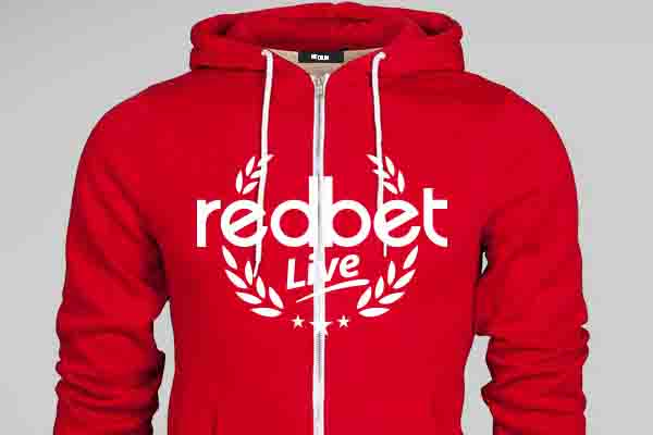 Embroidered caps and screen printed hooded sweatshirts, for Redbet